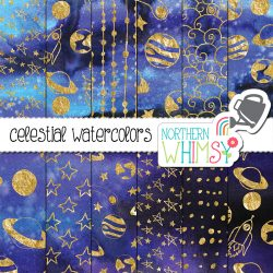Stars and planets digital paper gold foil on a dark purple space background.