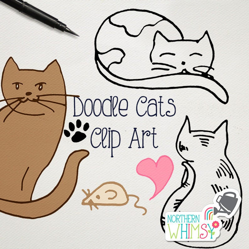 Cat Doodles Clipart Hand Drawn Northern Whimsy Design