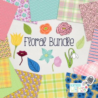 Floral Digital Paper Bundle Northern Whimsy Design