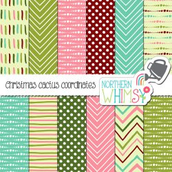 These hand-drawn geometric seamless patterns coordinate with our Christmas Cactus digital papers and clip art. The colors are red, pink, blue, and green.