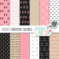 Our XO Doodles Valentine's seamless patterns include some simple hand-lettering and hand-drawn hearts. The colors in this set are pink, beige, and black.