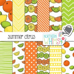 a sales image of our Summer Citrus Digital Paper set.