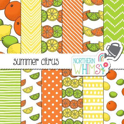 a sales image of our Summer Citrus Digital Paper set.