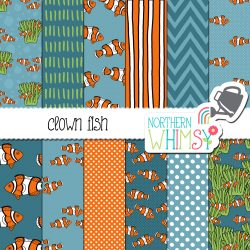 an image of our Clown Fish Seamless Patterns set
