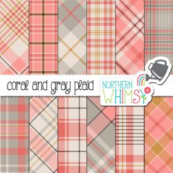 Check out these coral and gray plaid patterns - available for personal or limited commercial use (please check the Terms of Use).