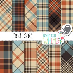 Perfect for Father's Day! Our Dad Plaid set includes twelve masculine plaid patterns in blue, brown, orange, and beige.