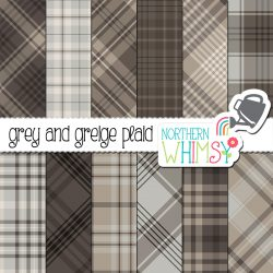 Need some neutrals? Try our Grey and Greige plaid digital paper! This set includes twelve plaids, in grey and greige (brownish grey).