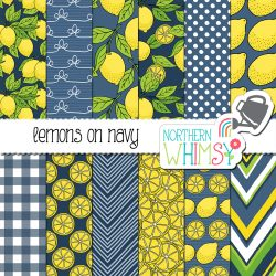 Lemons on a navy backgroud! Yay! These lemon seamless patterns come with navy blue backgrounds, and also include a limited commercial use license!