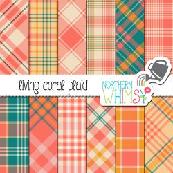 Check out this package of coral, teal, and gold plaid digital papers! Use them for personal or small commercial projects, or request an extended license.