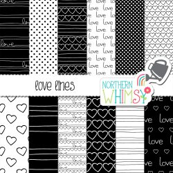 Here are some fun patterns! Love Lines black and white Valentine's patterns include hand lettering and hearts - perfect for the love in your life!