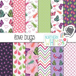 These Love Bugs Valentine's Patterns are super-cute! The patterns include butterflies, ladybugs, and beetles in pink and purple.