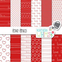 Here are some fun patterns! Love Lines red Valentine's patterns include hand lettering and hearts - perfect for the love in your life!