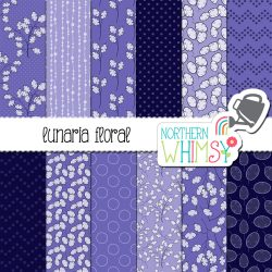 an image of our Purple Floral Digital Paper - Luneria for sale.