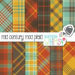 These Mid Century Mod plaid patterns include aqua blue, rust orange, mustard yellow, and brown plaids. Great for retro personal projects, or contact us for an extended license!