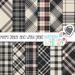 This Not Quite Black and White Plaid has a retro feel, with deep charcoal, off-white, and pops of red adding drama to the set. It includes 12 JPEG files.
