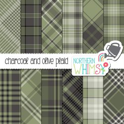 Nice neutrals! These olive and grey plaid patterns feature charcoal grey and olive green, and include a limited commercial use license, too!