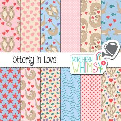 Otterly In Love is the perfect digital paper for Valentines Day - cute and sweet! This set features hand-drawn otters, seashells, and starfish...and hearts.
