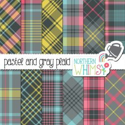 Here is a cute set of pastel and gray plaid patterns. They include gray, pastel blue, yellow, and pink. A limited commercial use license is also included.
