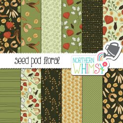 an image of our Autumn Digital Paper - Green Seed Pods seamless pattern package.