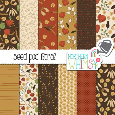 a sales image for our Fall Digital Paper - Seed Pods seamless pattern set.