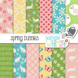 Spring Bunnies Easter Patterns are super-cute!  This set includes bunny, butterfly, and floral seamless patterns in soft spring colors.