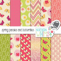 Perfect for spring!  This Spring Butterflies Digital Paper set includes butterfly and pansy patterns in pink, peach, green, and yellow.