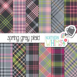 Perfect for spring! These Spring Plaid patterns feature pink and lime green on gray. The set even includes a limited commercial use license!