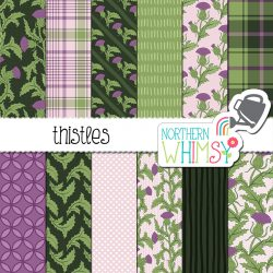 Need a purple and green floral? Our thistle seamless patterns might do the trick! These hand drawn thistle flowers and coordinating geometric patterns - perfect for Scottish themed projects!
