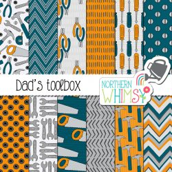 Check out these Father's Day patterns! Our Dad's Toolbox set includes hammers, pliers, saws, and wrenches, in a blue, gray, and mustard yellow color scheme.