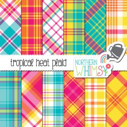 Whew, that's hot! Our Tropical Plaid Digital Paper set includes 12 JPEG patterns. The colors in this set are hot pink, yellow, orange, blue, and turquoise.