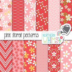 These pink floral seamless patterns feature white and yellow flower illustrations on pink backgrounds, as well as coordinating geometric patterns.