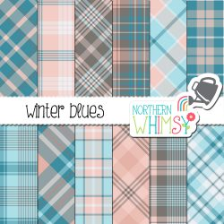We call them winter blues, but these plaids are quite cheerful!  This set includes twelve JPEG winter plaid patterns, in shades of blue, pink, and gray.