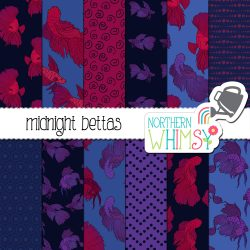 a sales image of our Fish Digital Paper - Midnight Bettas set