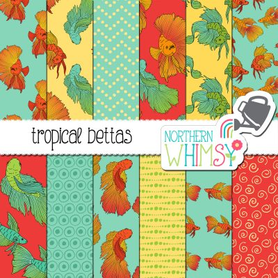 a sales image for our Tropical Fish Digital Paper - Bettas seamless pattern set.