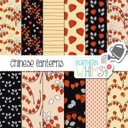 a sales image of our Fall Floral Seamless Patterns - Chinese Lanterns