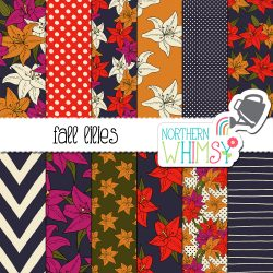 a sales image for our Fall Floral Digital Paper - Lilies seamless pattern set.