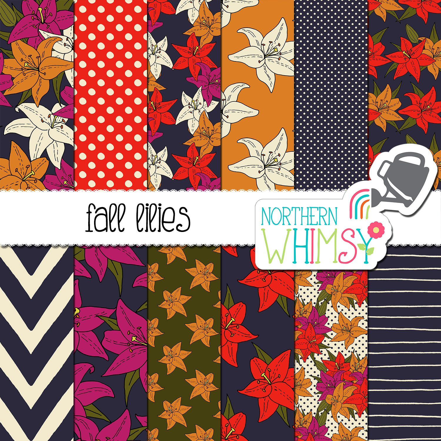 Fall Floral Digital Paper Lilies Northern Whimsy Design
