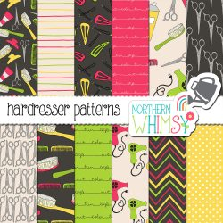 a sales image for our Hairdresser Digital Paper set