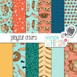 an image of our Playful Otters Seamless Patterns digital paper set