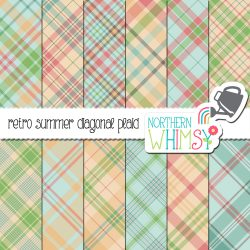 a picture of our Retro Summer Seamless Diagonal Plaid Digital Paper