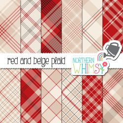 an image of our Red and Beige Seamless Diagonal Plaid digital paper pack