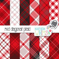 a picture of our Red Seamless Diagonal Plaid Digital Paper set