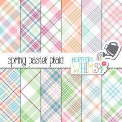 a picture of our Spring Pastel Seamless Diagonal Plaid Digital Paper set