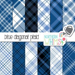A picture of our Blue Seamless Diagonal Plaid digital paper