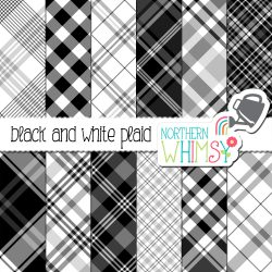 a sales image of our Black and White Diagonal Plaid Seamless Patterns