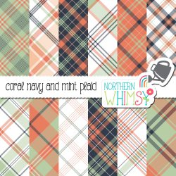 a picture of our Coral Navy and Mint Seamless Diagonal Plaid Patterns