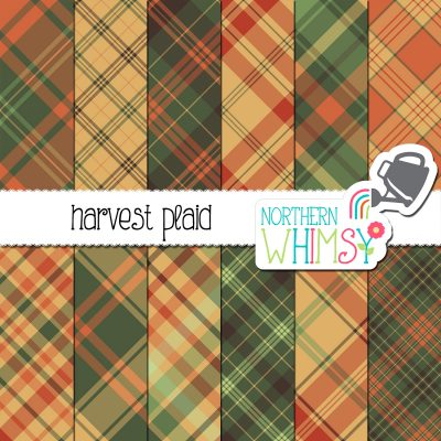 an image of Northern Whimsy's Fall Seamless Diagonal Plaid digital paper pack