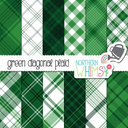 an image of Northern Whimsy's Green Seamless Diagonal Plaid digital paper pack.
