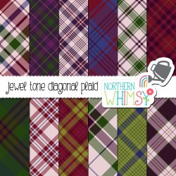 an image of the Jewel Tone Seamless Diagonal Plaid digital paper set by Northern Whimsy Design.