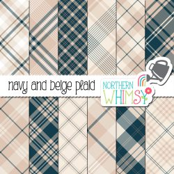 a sales image of our Neutral Seamless Diagonal Plaid - Navy and Beige digital paper package